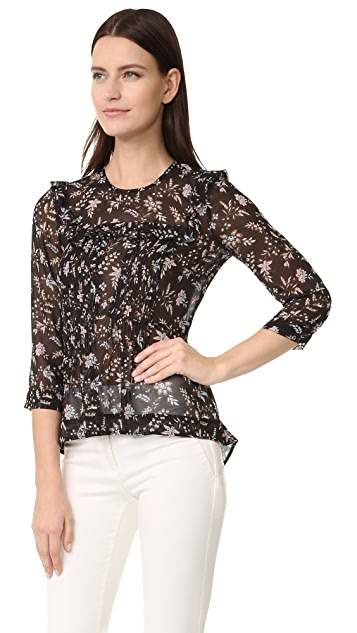 Veronica Beard Thompson Ruffle Blouse