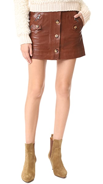 Veronica Beard Monroe Leather Cargo Skirt - Cognac