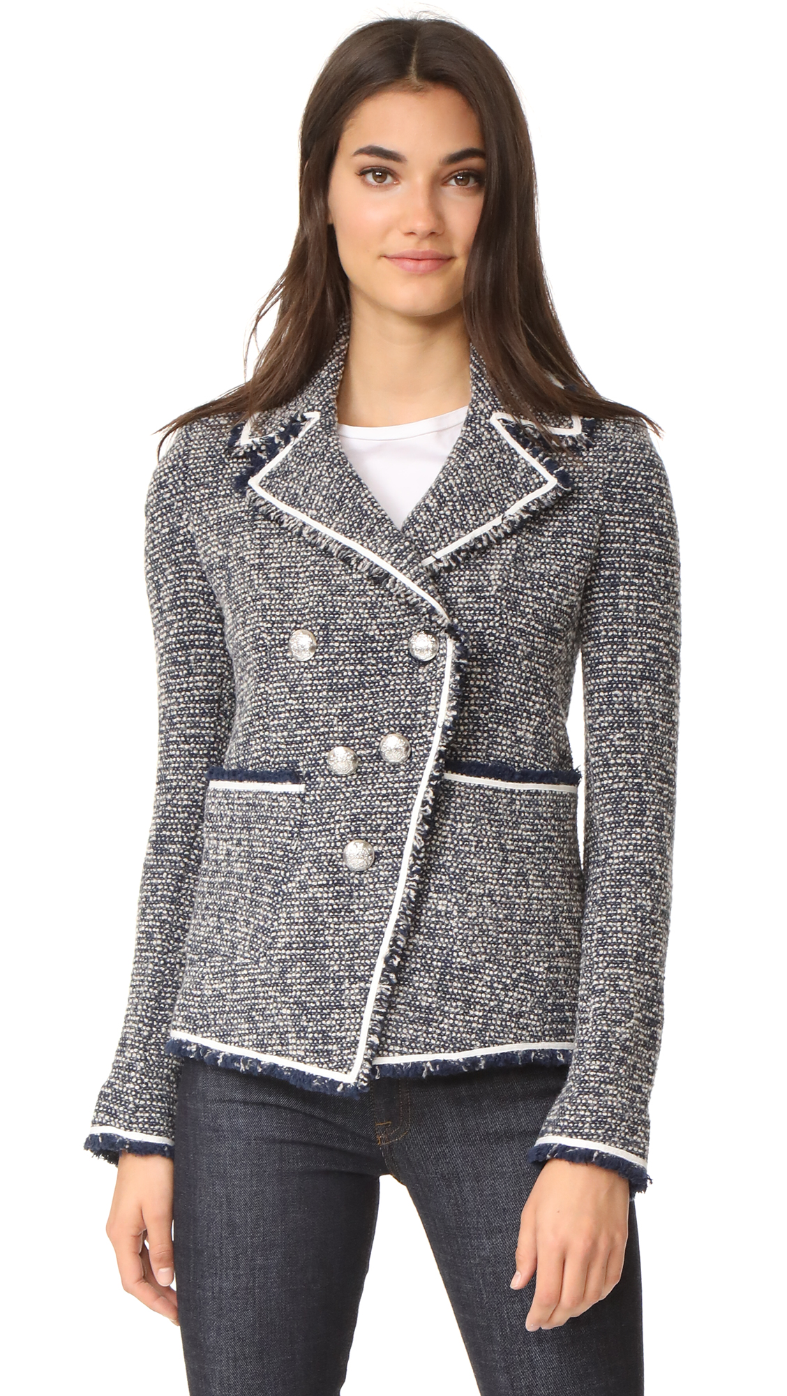 Veronica Beard Carroll Portrait Neckline Jacket - Grey