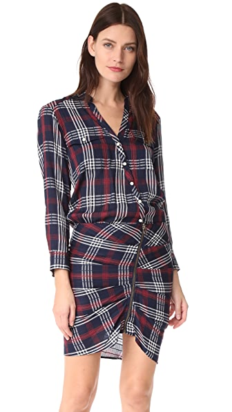 Veronica Beard Emory Ruched Cargo Shirtdress - Navy
