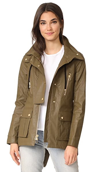 Veronica Beard King Rain Parka with Hood - Army