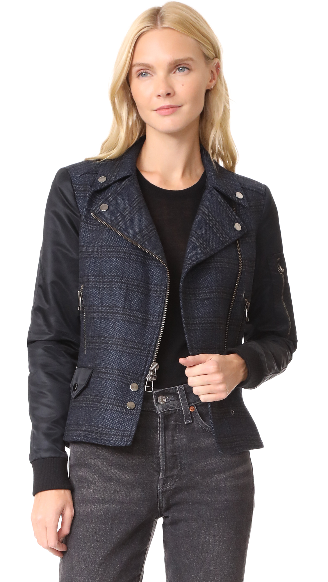 Veronica Beard Everly Combo Moto Jacket - Blue/Navy
