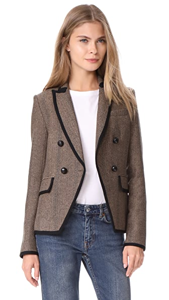 Veronica Beard Forrest Jacket In Black/Tan