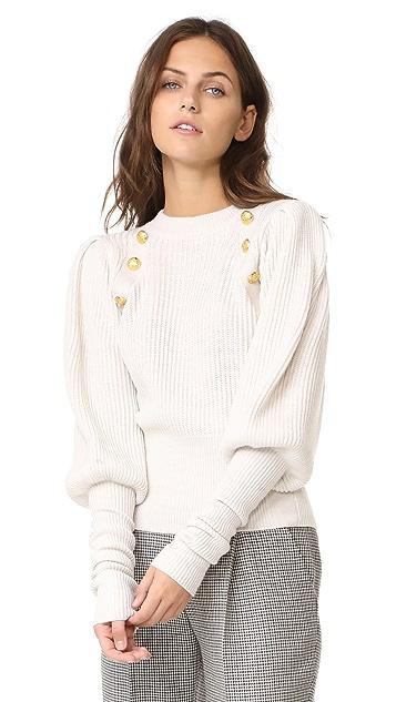 Veronica Beard Jude Leg of Mutton Button Sweater