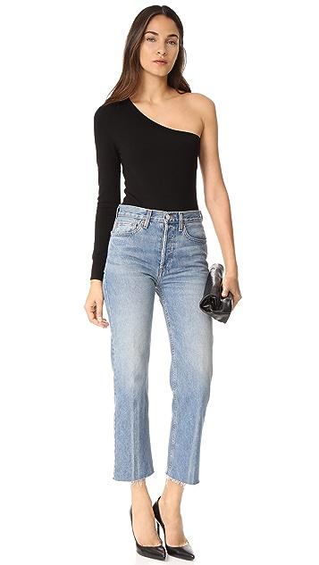 Veronica Beard Long Sleeve One Shoulder Bodysuit