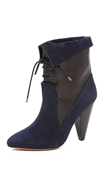 Veronica Beard Hawthorne Heel Booties - Navy/Black