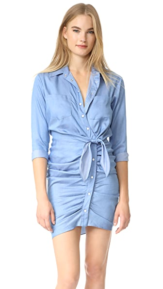 Veronica Beard Sierra Ruched Dress In Medium Blue