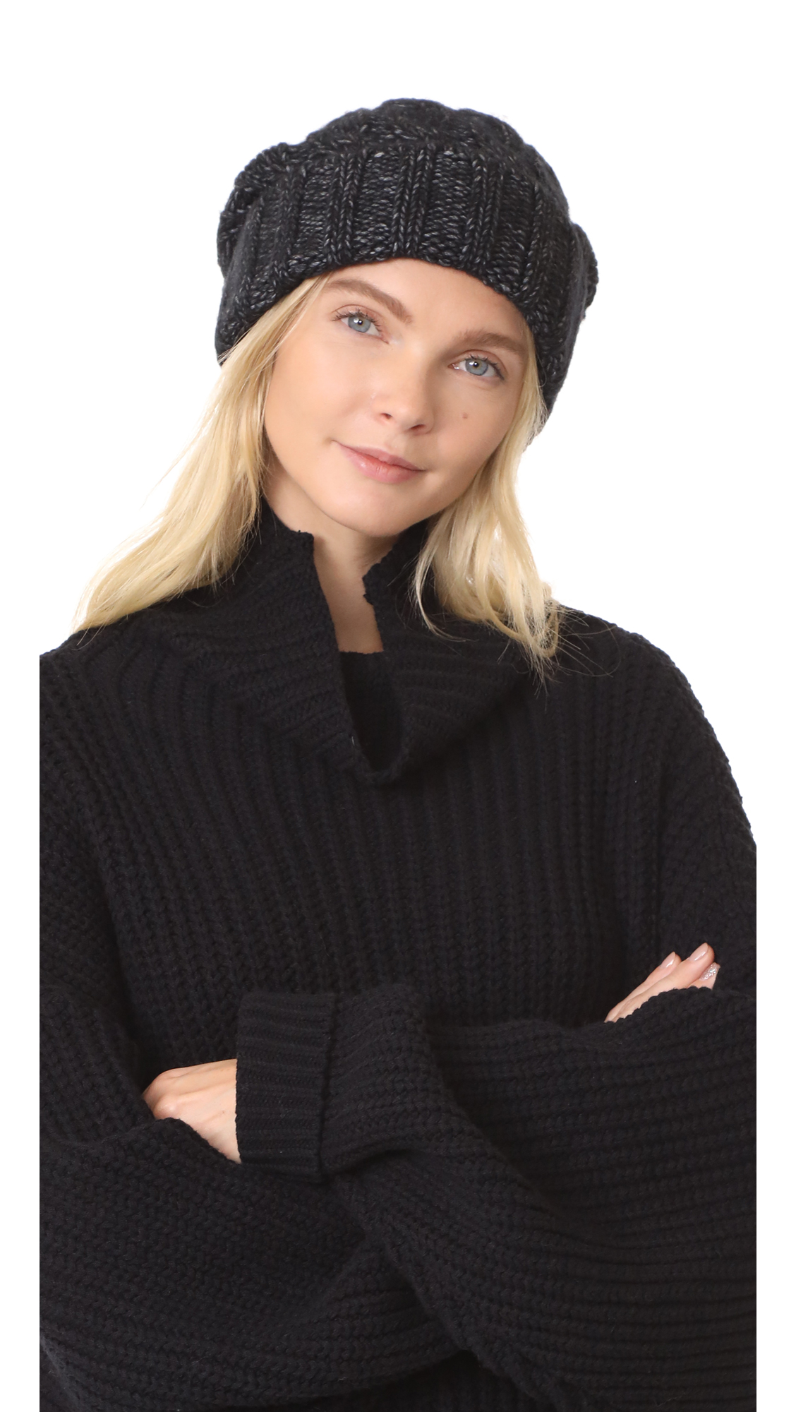 Veronica Beard Forde Cable Hat - Charcoal