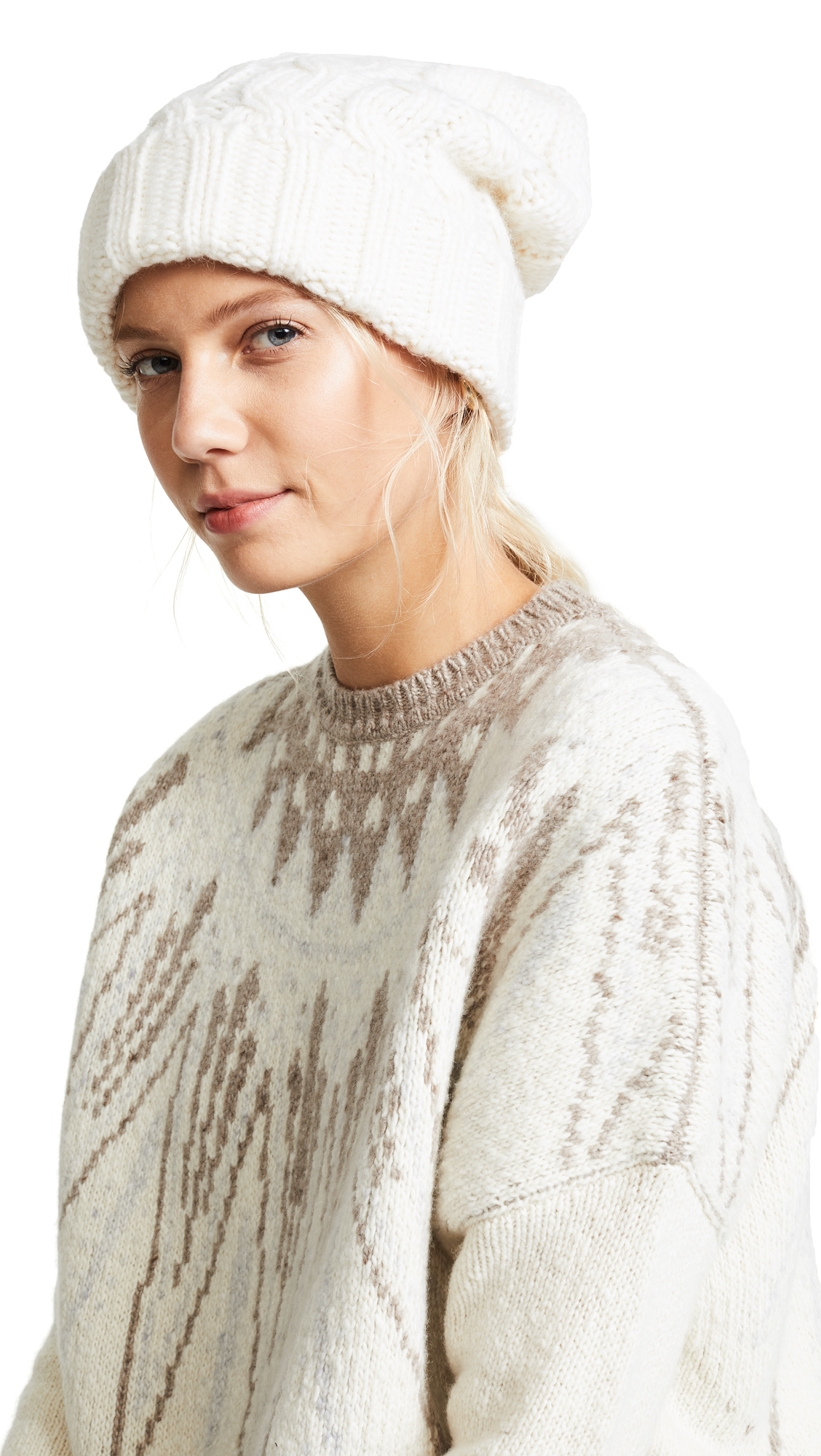 Veronica Beard Forde Cable Hat - Ivory