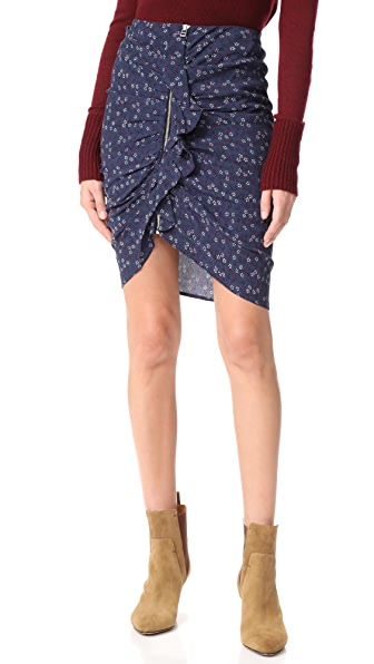 Veronica Beard Spencer Ruched Zipper Skirt - Navy