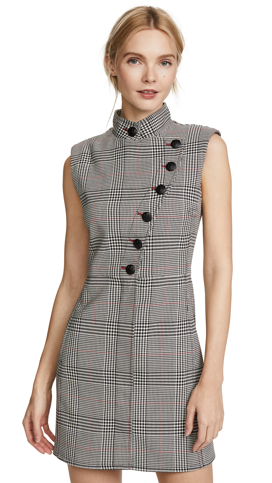 Veronica Beard Coco Button Up Dress - White/Black/Red