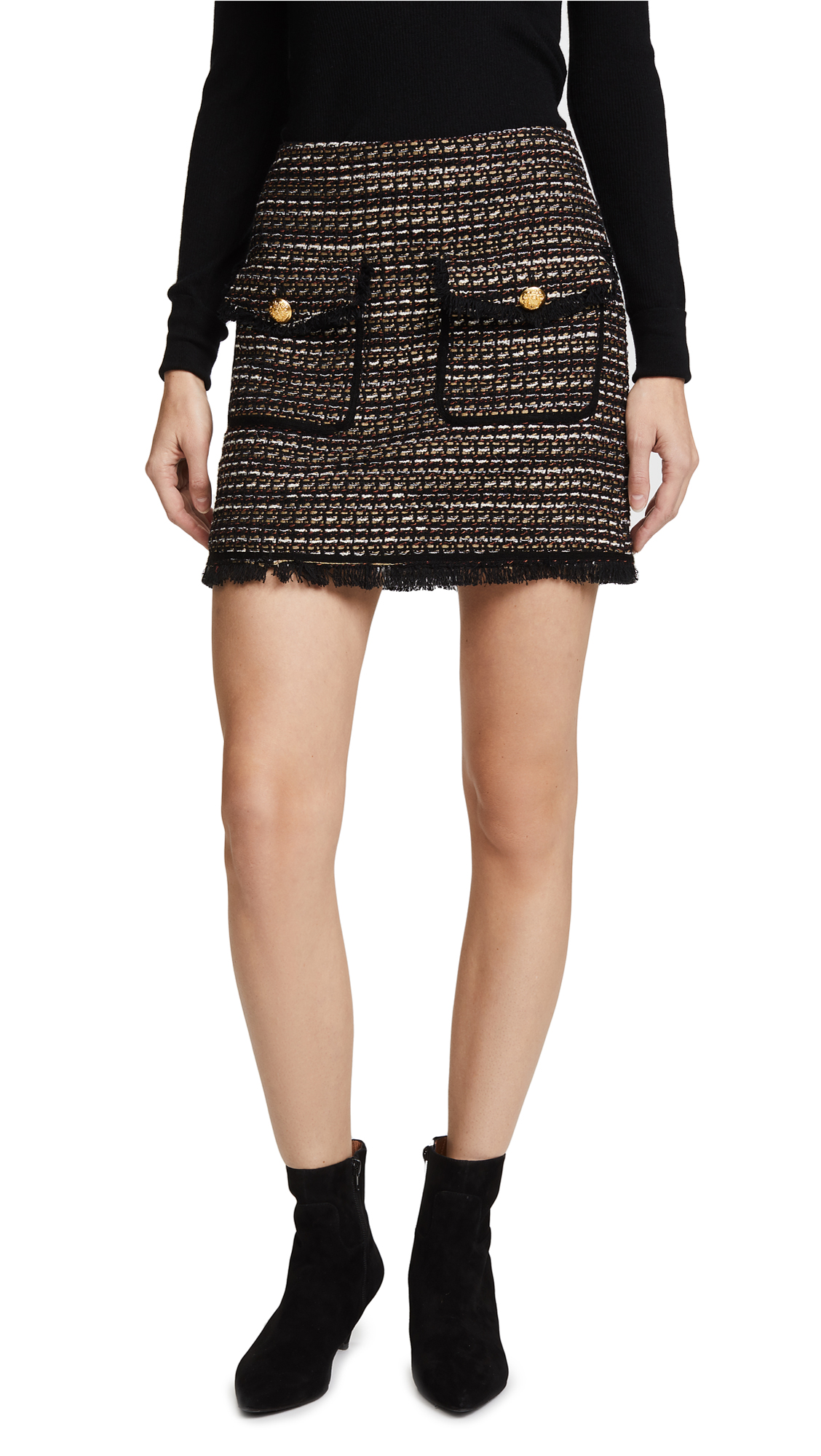 Veronica Beard Margot Skirt - Black/White/Gold
