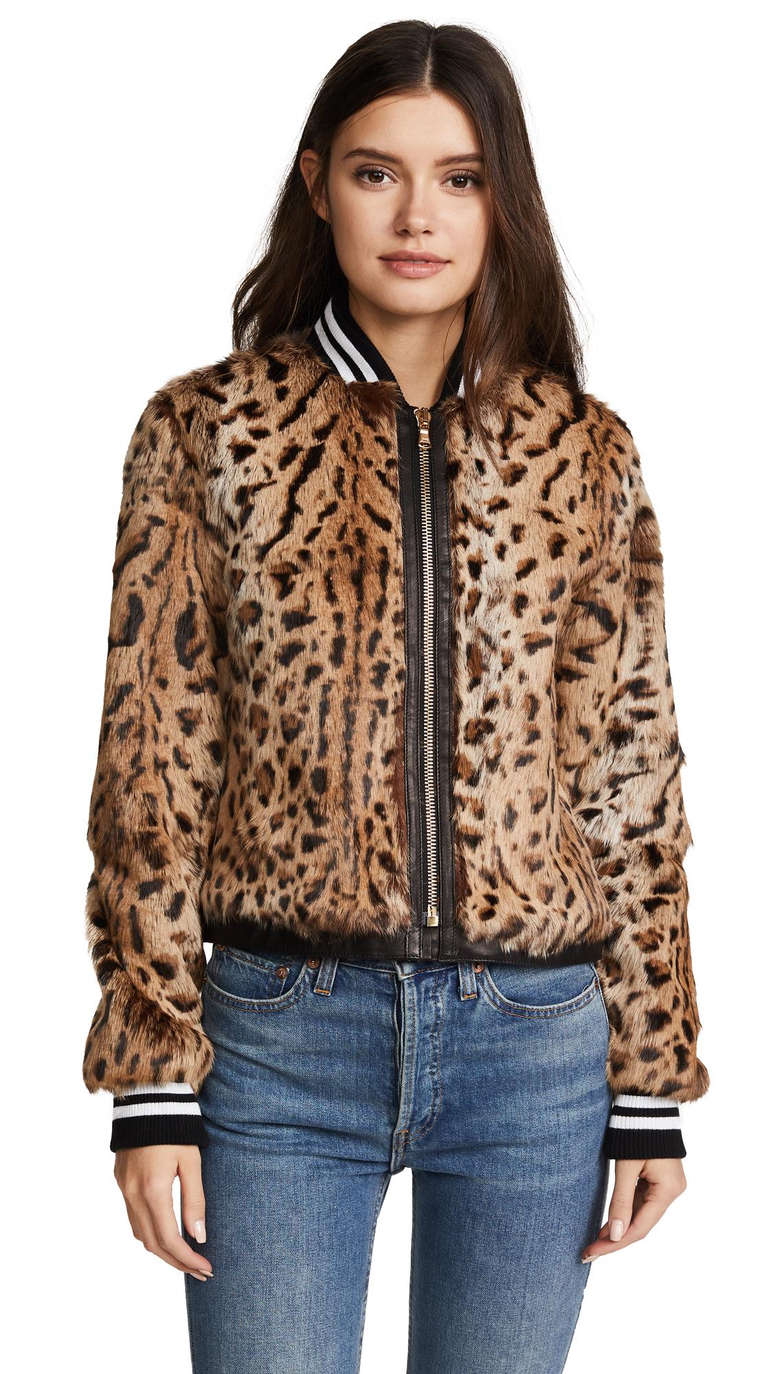 Veronica Beard Etta Fur Jacket - Leopard