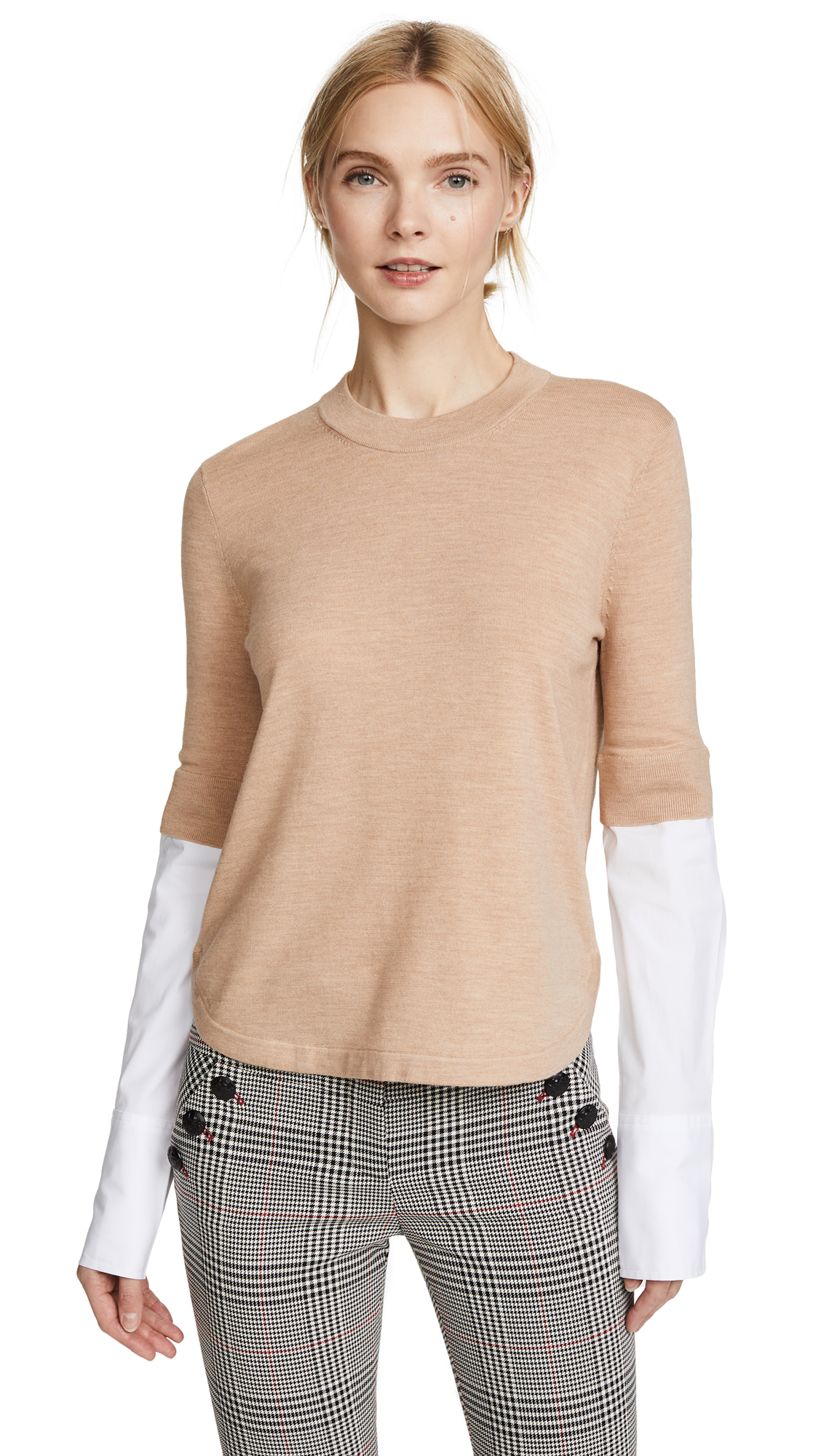 Veronica Beard Roscoe Mixed Media Sweater - Camel