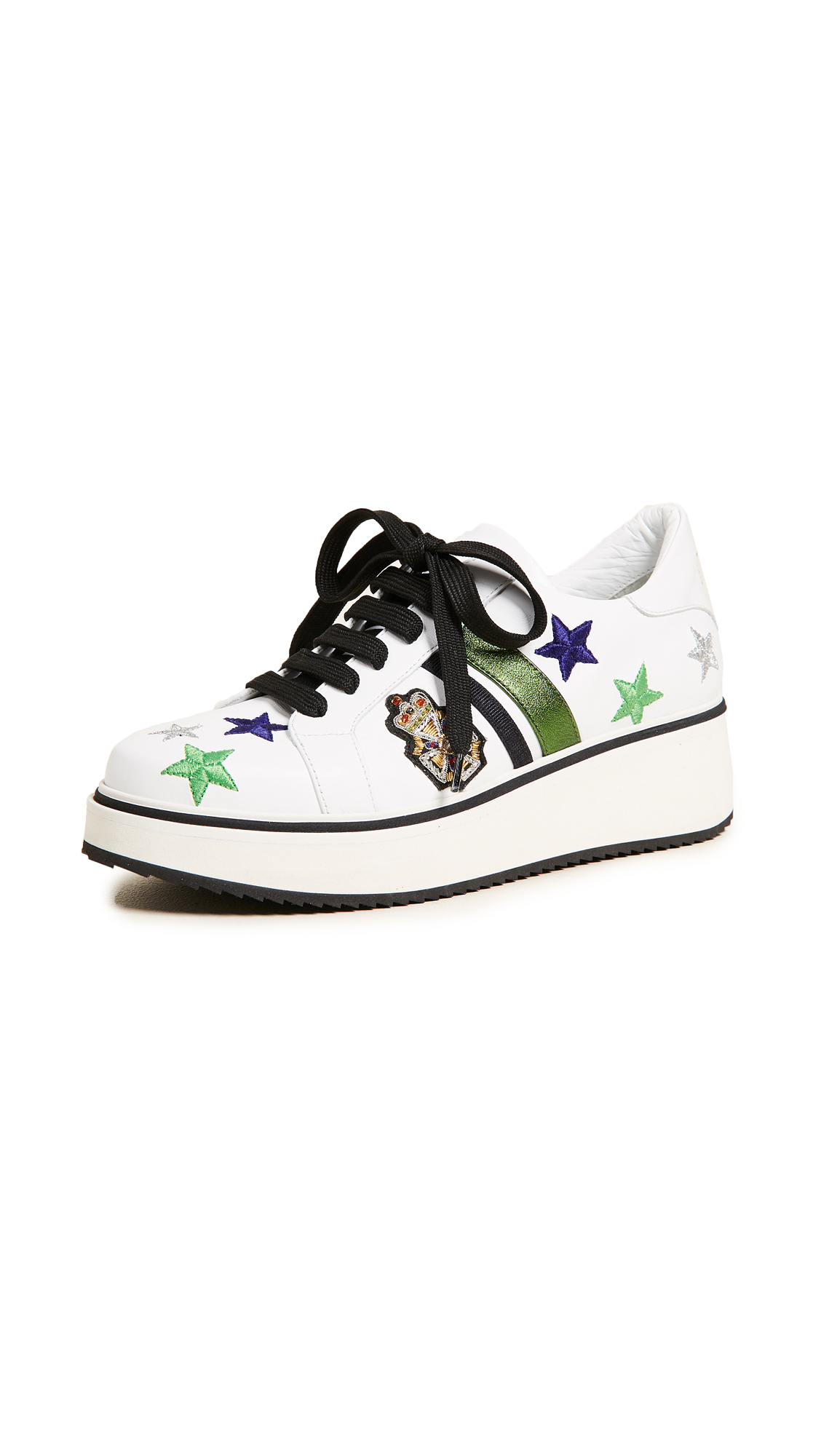 Veronica Beard Emmerson Sneakers - White/Silver/Green