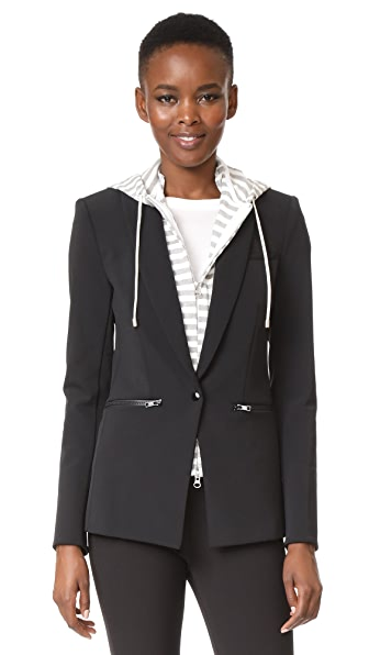 Veronica Beard Scuba Jacket with Stripe Sweater Hoodie Dickey In Black/Grey/White