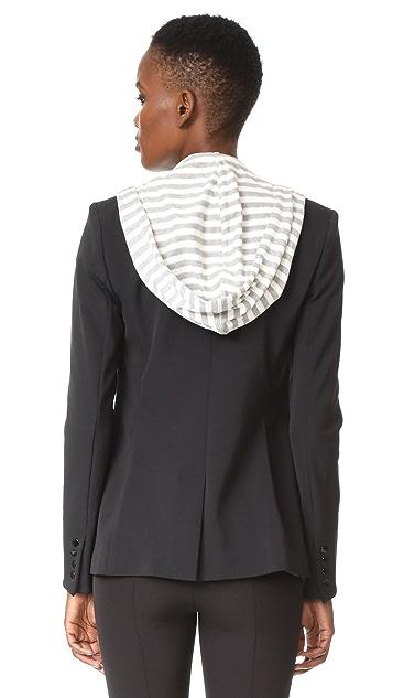 Veronica Beard Scuba Jacket with Stripe Sweater Hoodie Dickey
