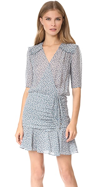 Veronica Beard Dakota Flounce Dress - Cream/Vintage Blue