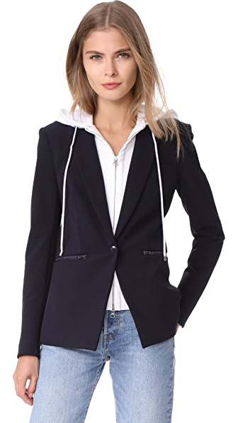 Veronica Beard Scuba Jacket with White Hoodie Dickey In Navy/White