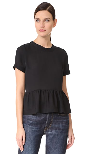 Veronica Beard Peplum Silk Top
