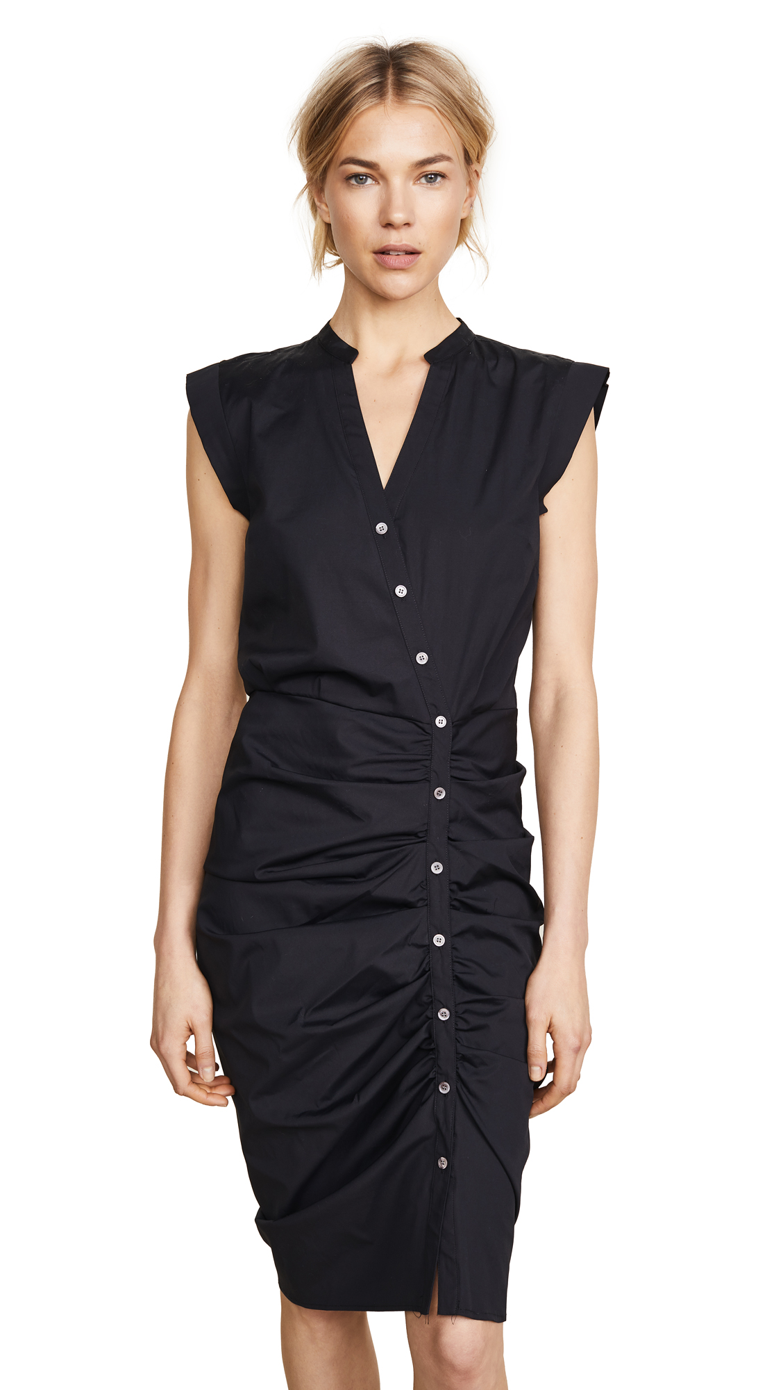 Veronica Beard Long Ruched Dress - Black