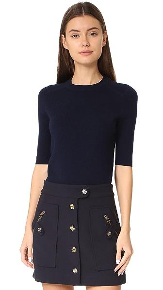 Veronica Beard Cyprus Short Sleeve Sweater - Navy