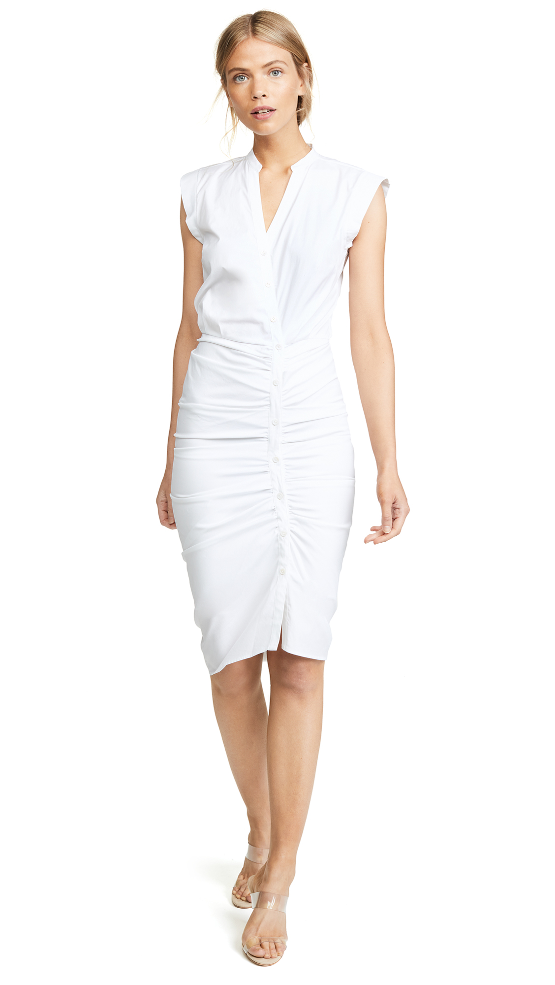 Veronica Beard Long Ruched Dress - White