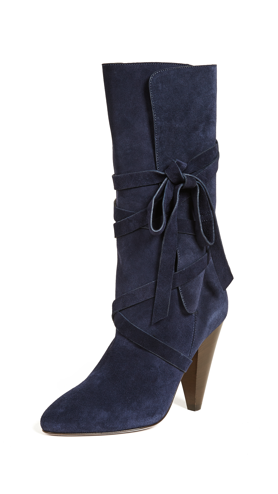 Veronica Beard Hall Heel Boots - Navy