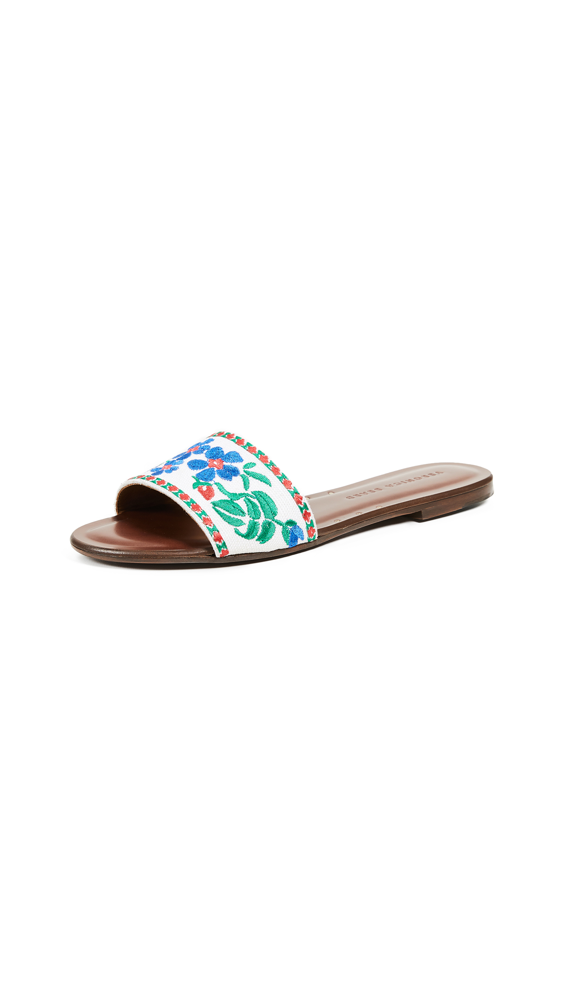 Veronica Beard Frida Linen Slide Sandals - White