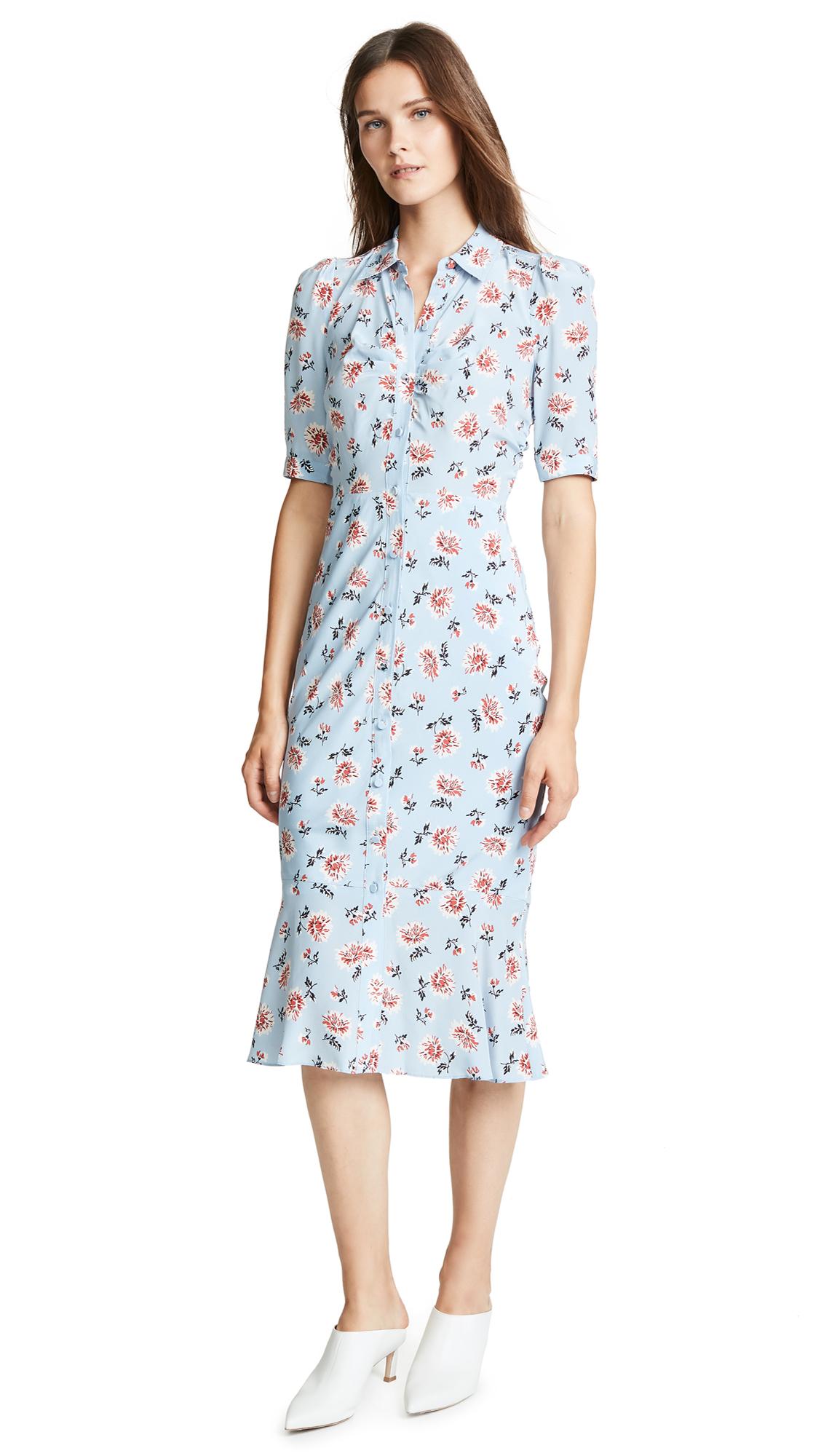 Veronica Beard Pike Dress In Sky Blue Multi