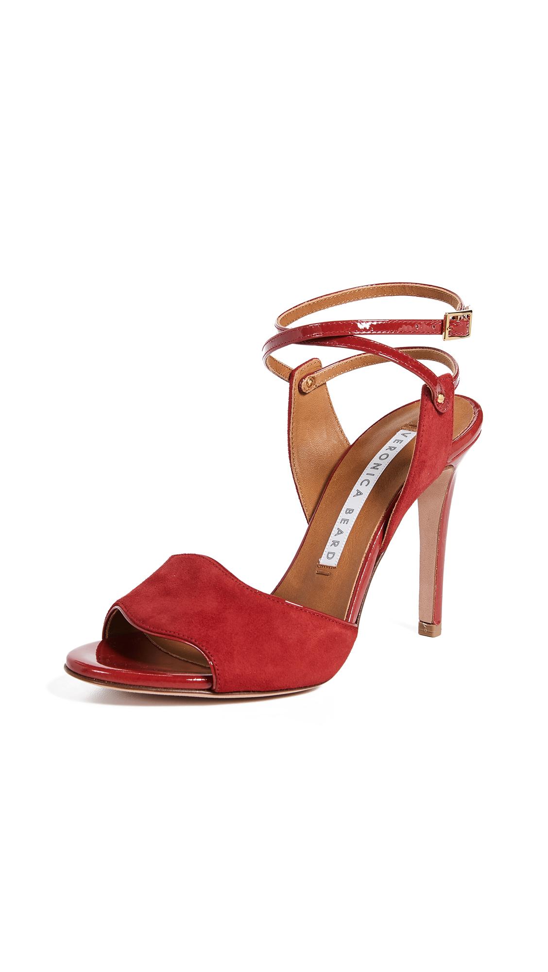 Veronica Beard Suma Strappy Sandal Pumps - Cherry