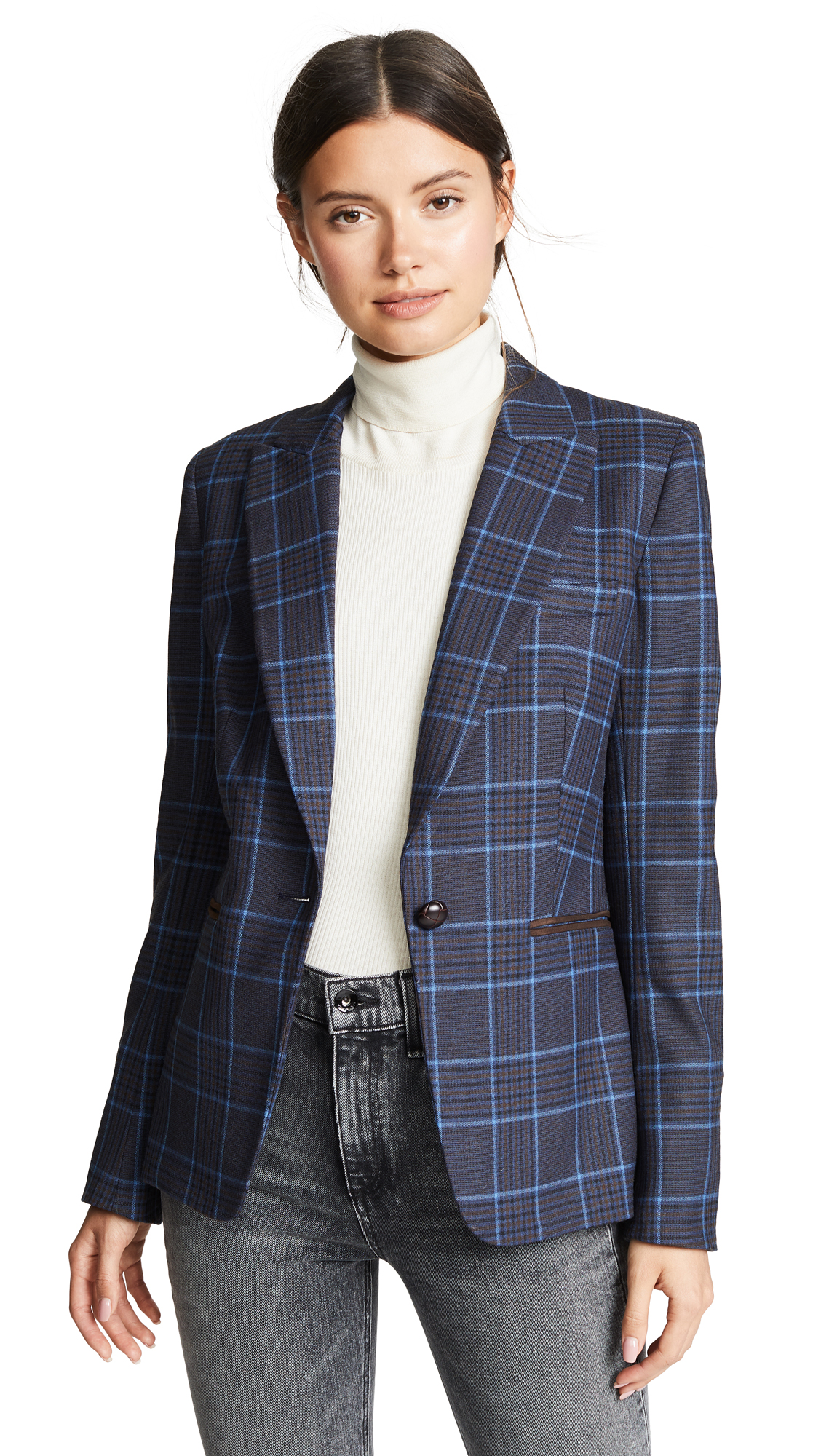 Veronica Beard Keating Dickey Jacket In Blue/Brown