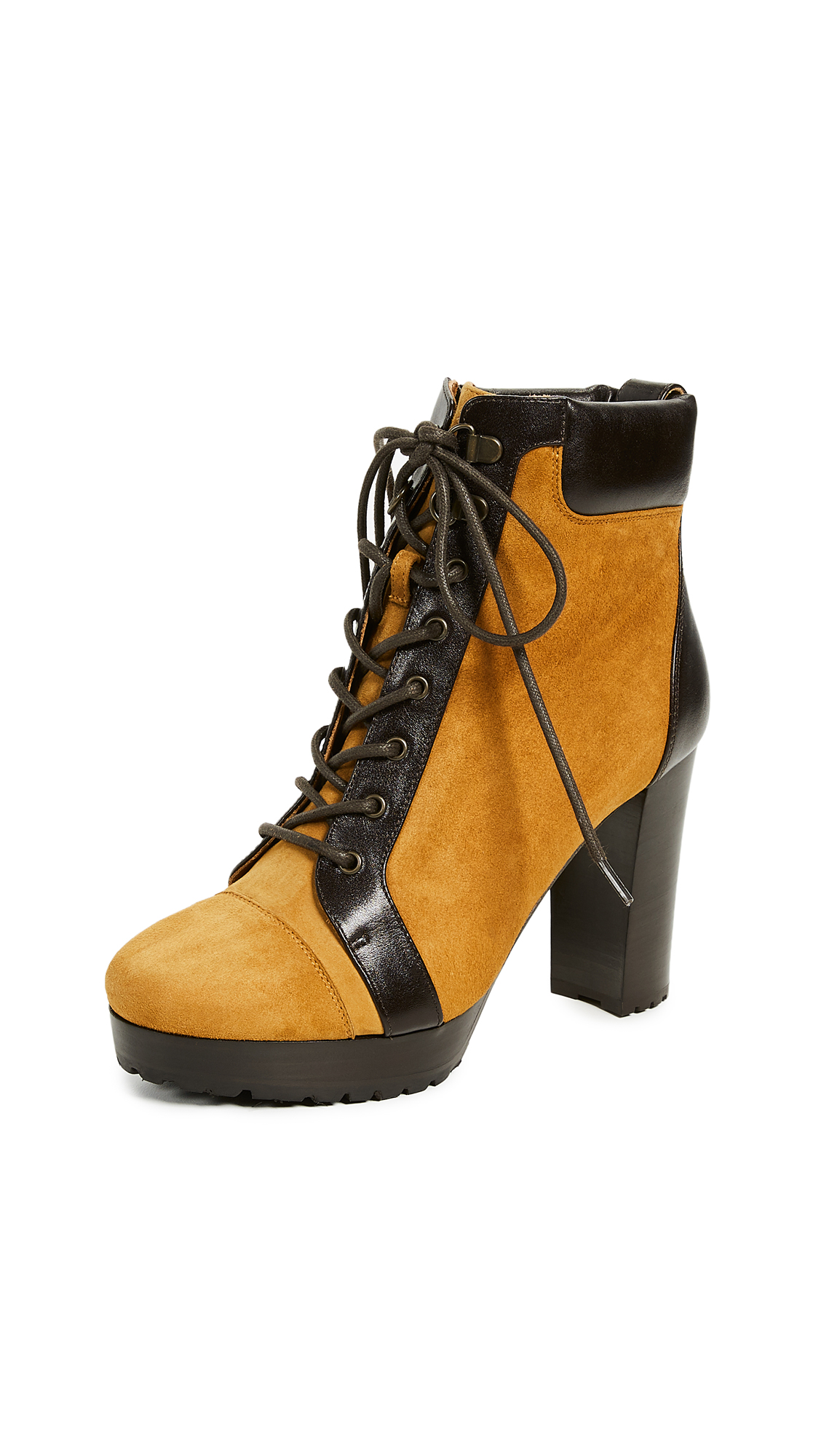 Veronica Beard Axel Booties - Saffron/Dark Brown
