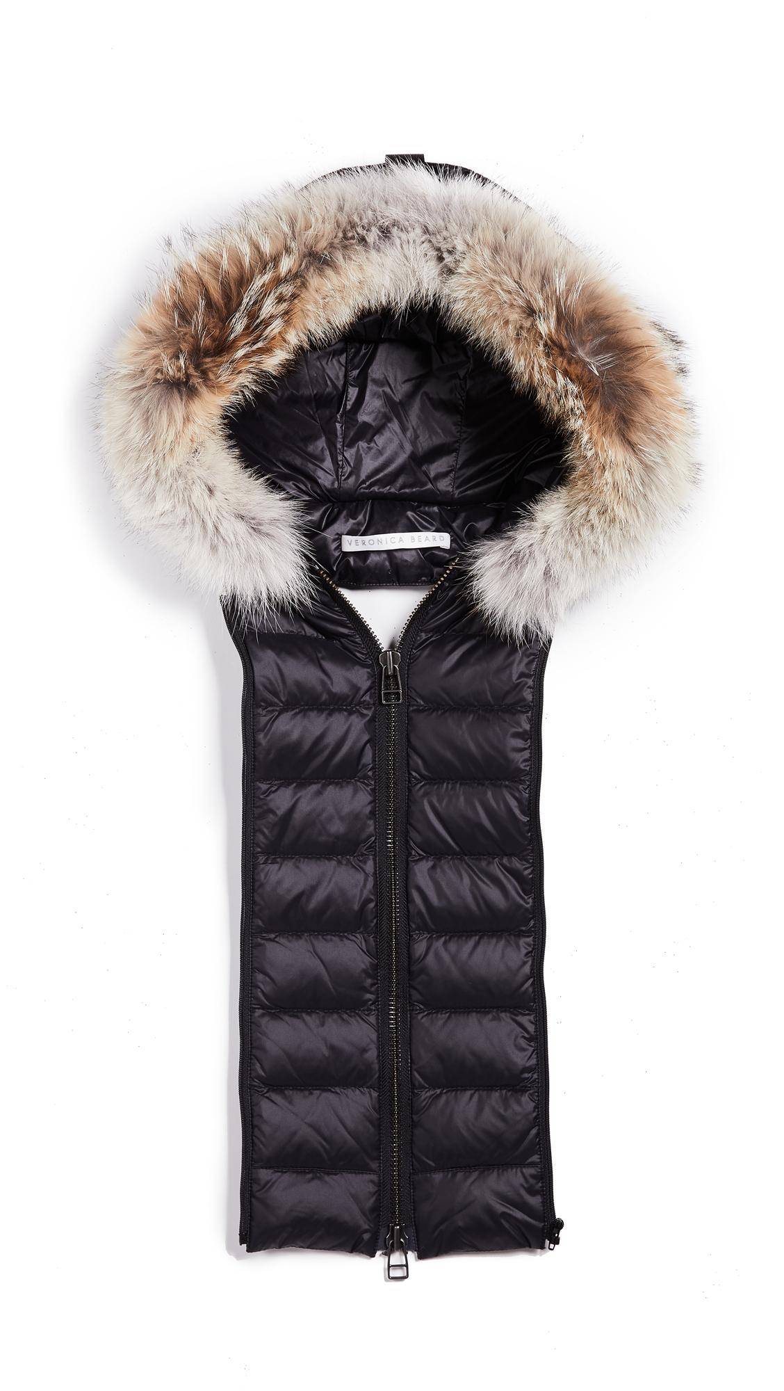 Veronica Beard Hoodie Dickey with Fur In Black