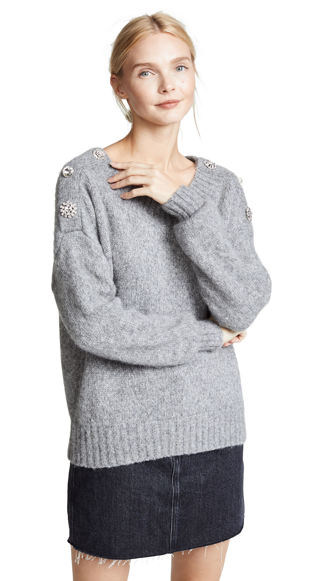 Veronica Beard Chase Sweater In Light Grey Melange