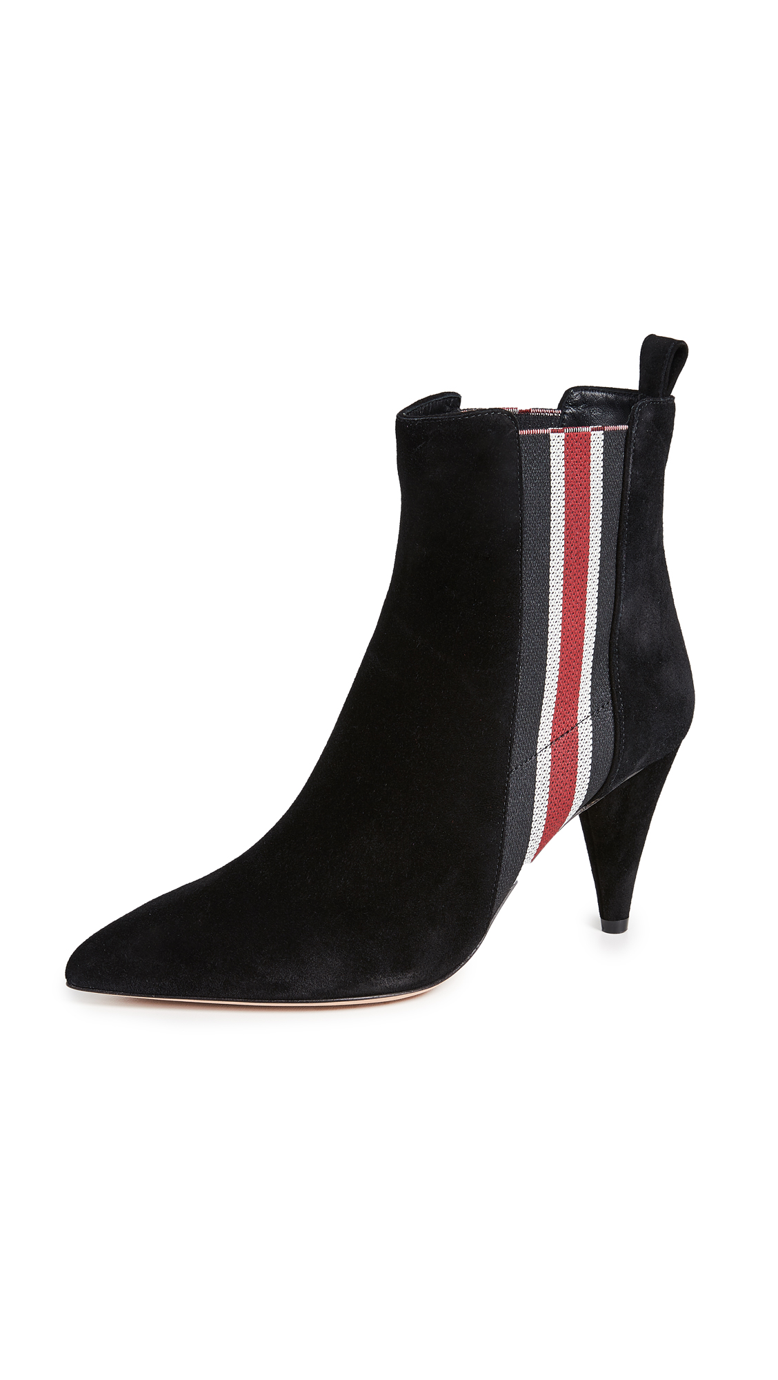 Veronica Beard Flynne Suede Booties - Black/Red