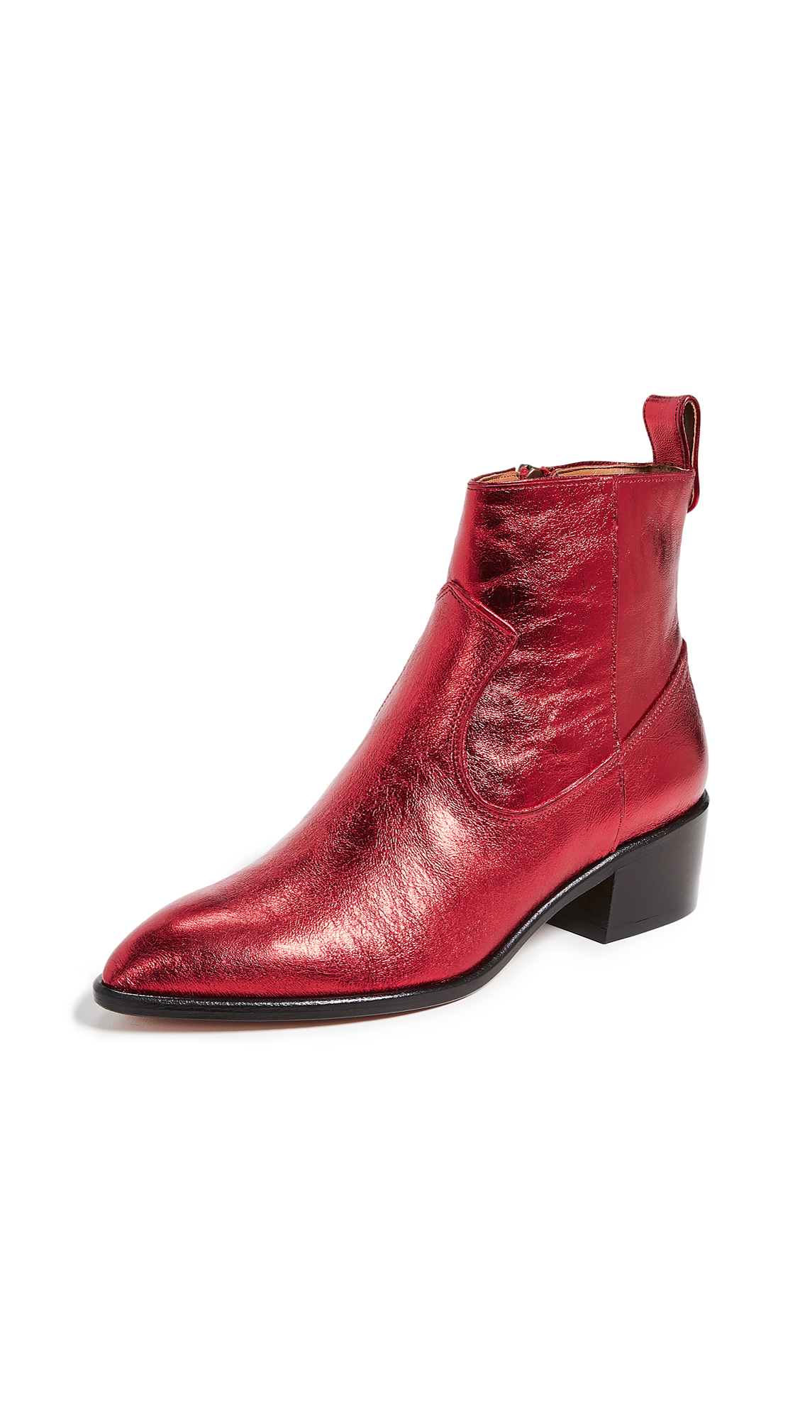 Veronica Beard Tanner Low Boots - Red