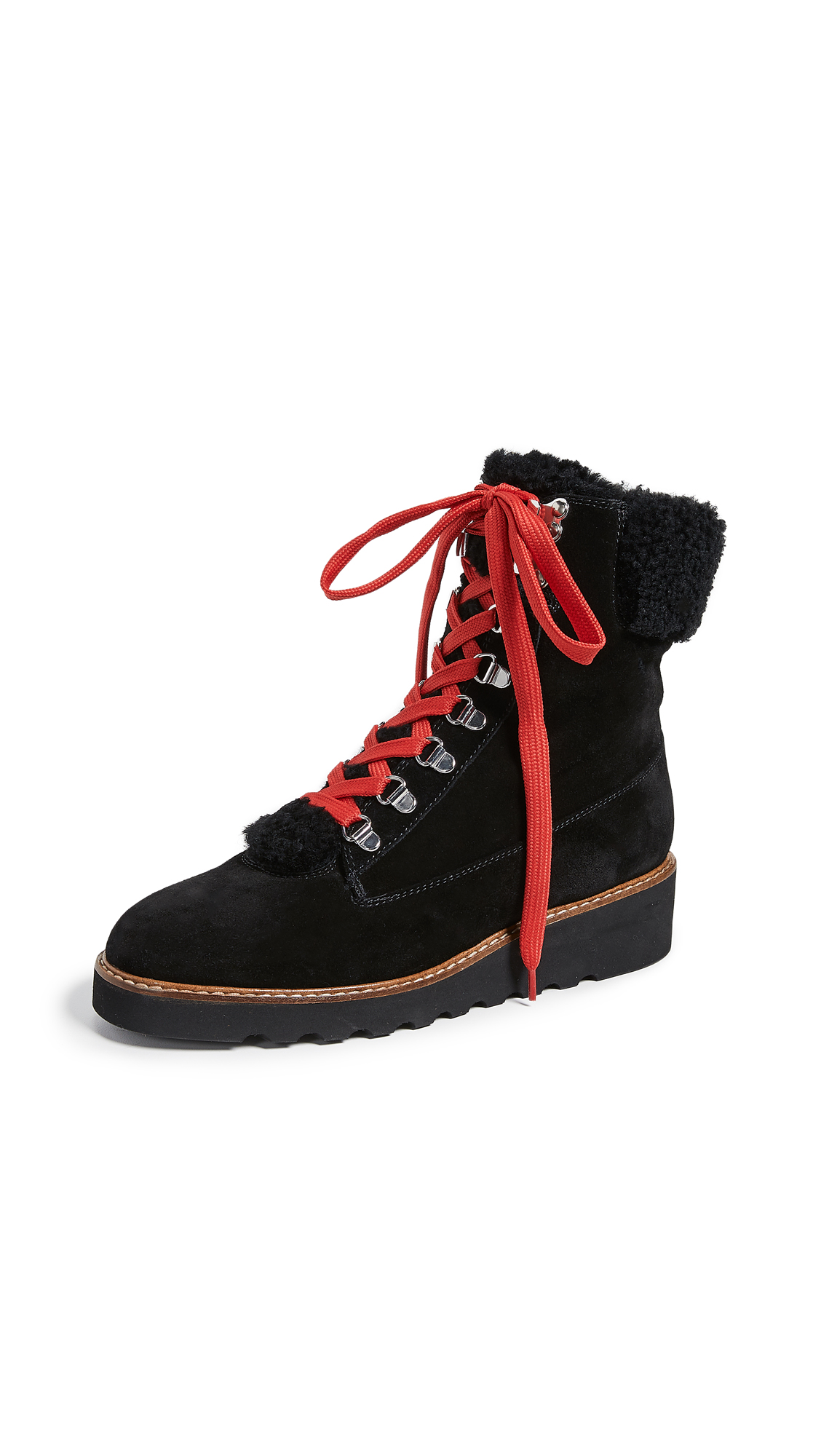 Veronica Beard Vale Hiker Shearling Boots - Black/Black