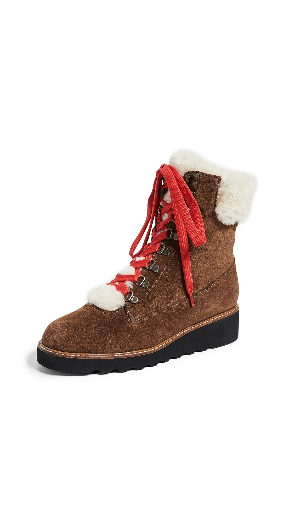 Veronica Beard Vale Hiker Shearling Boots - Coconut/Natural