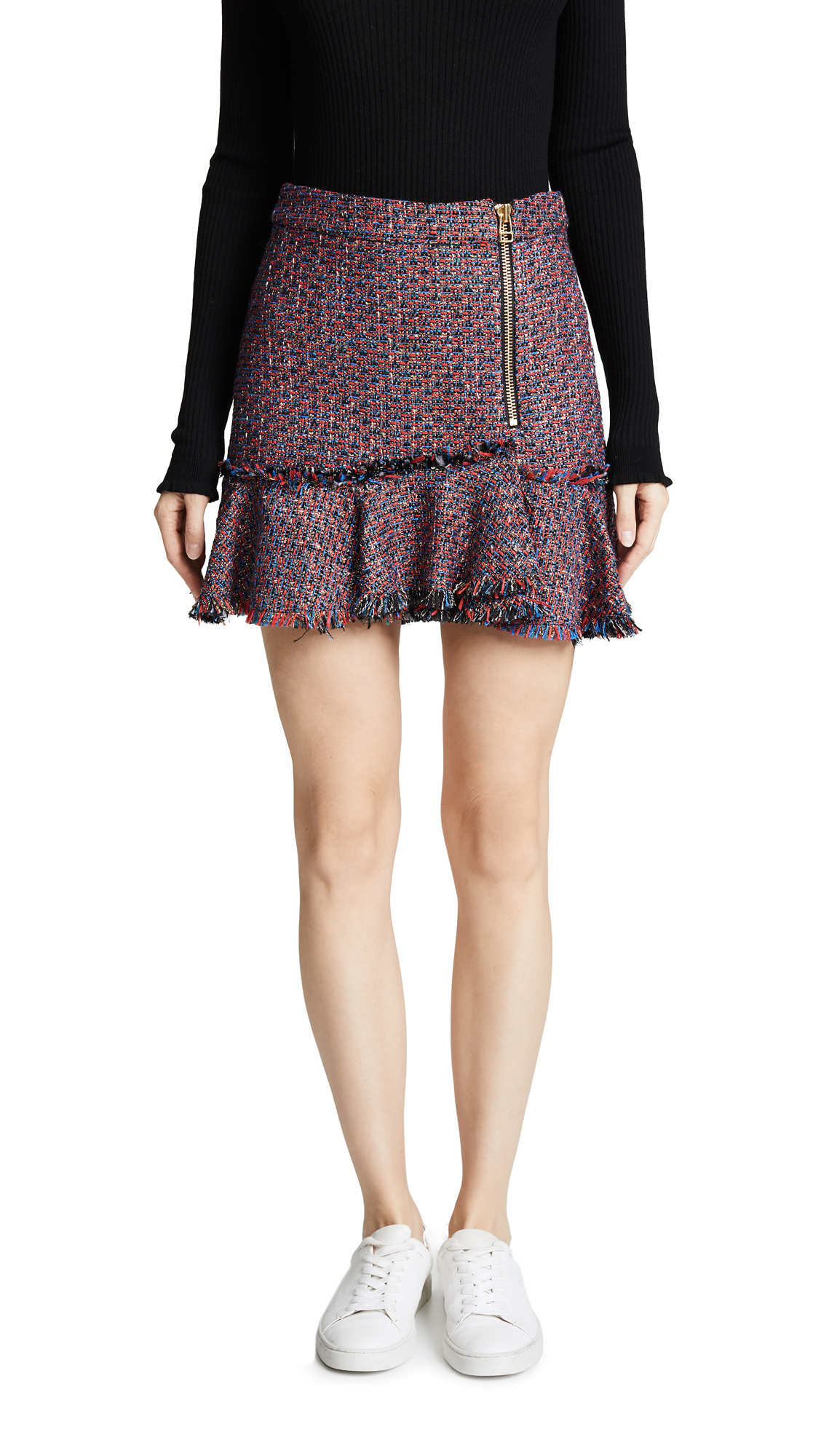 Madra Boucle Mini Skirt in Red Multi
