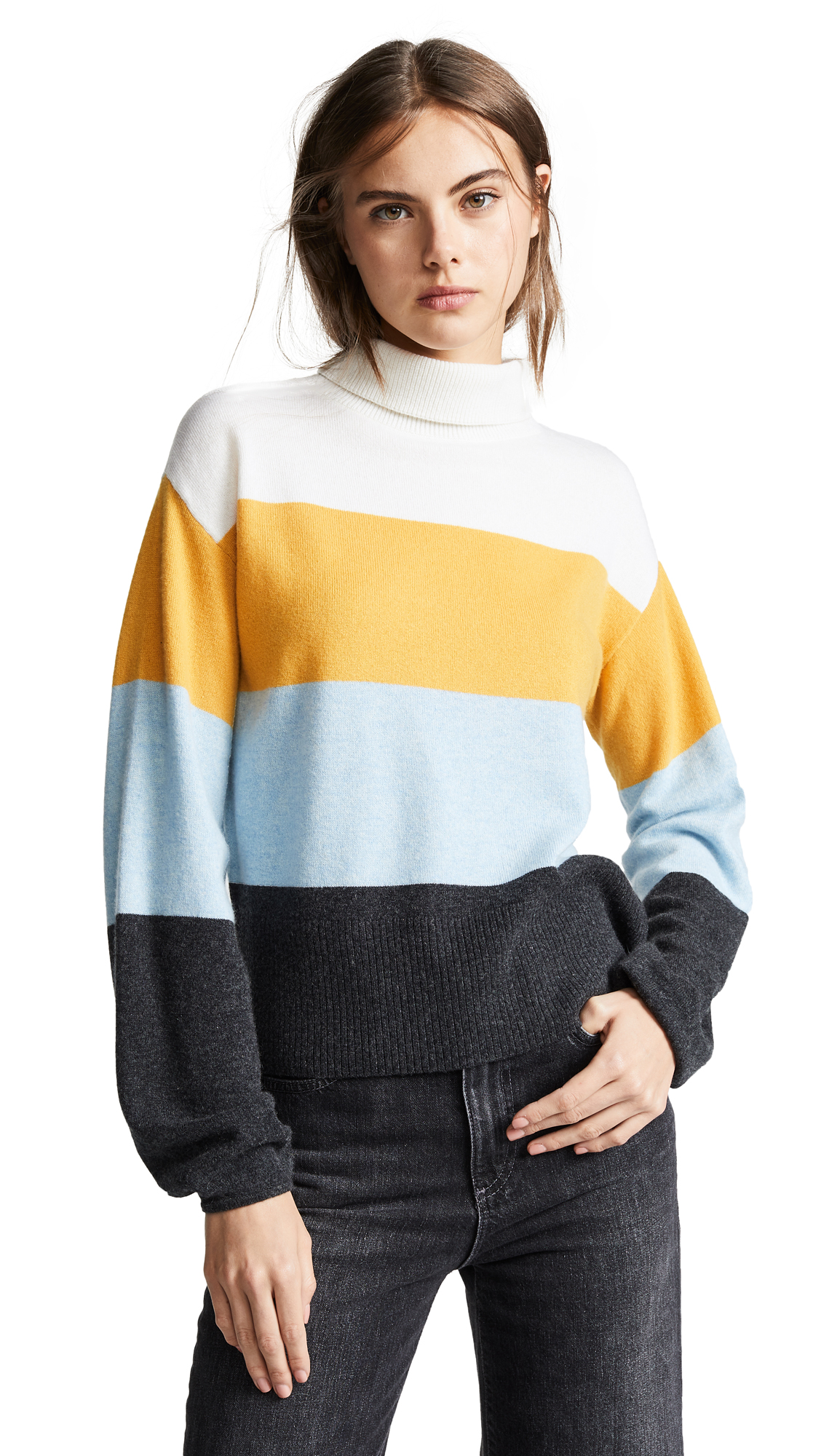 Faber Cashmere Turtleneck Colorblock Sweater in Yellow Multi