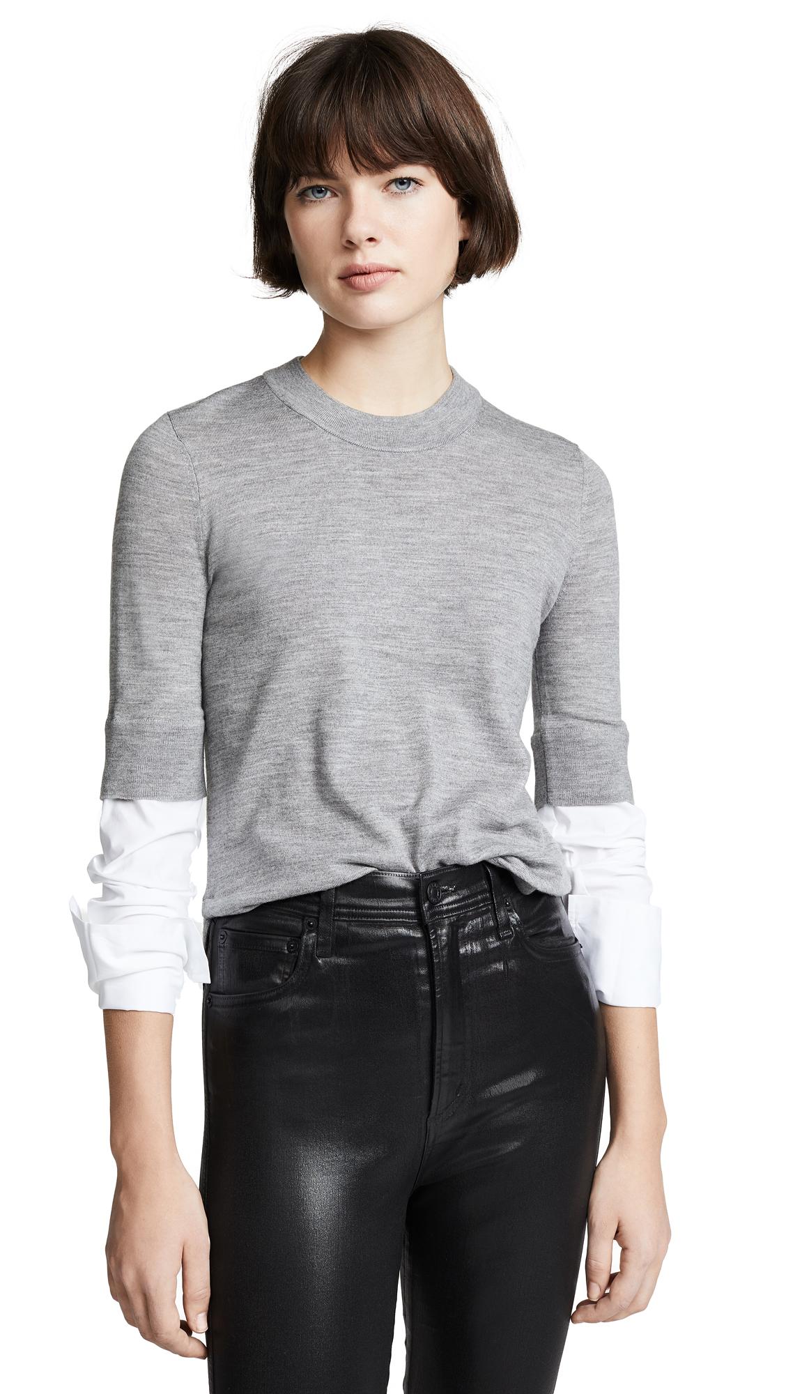 Roscoe Crewneck Wool Sweater With Plaid Sleeves in Grey Melange