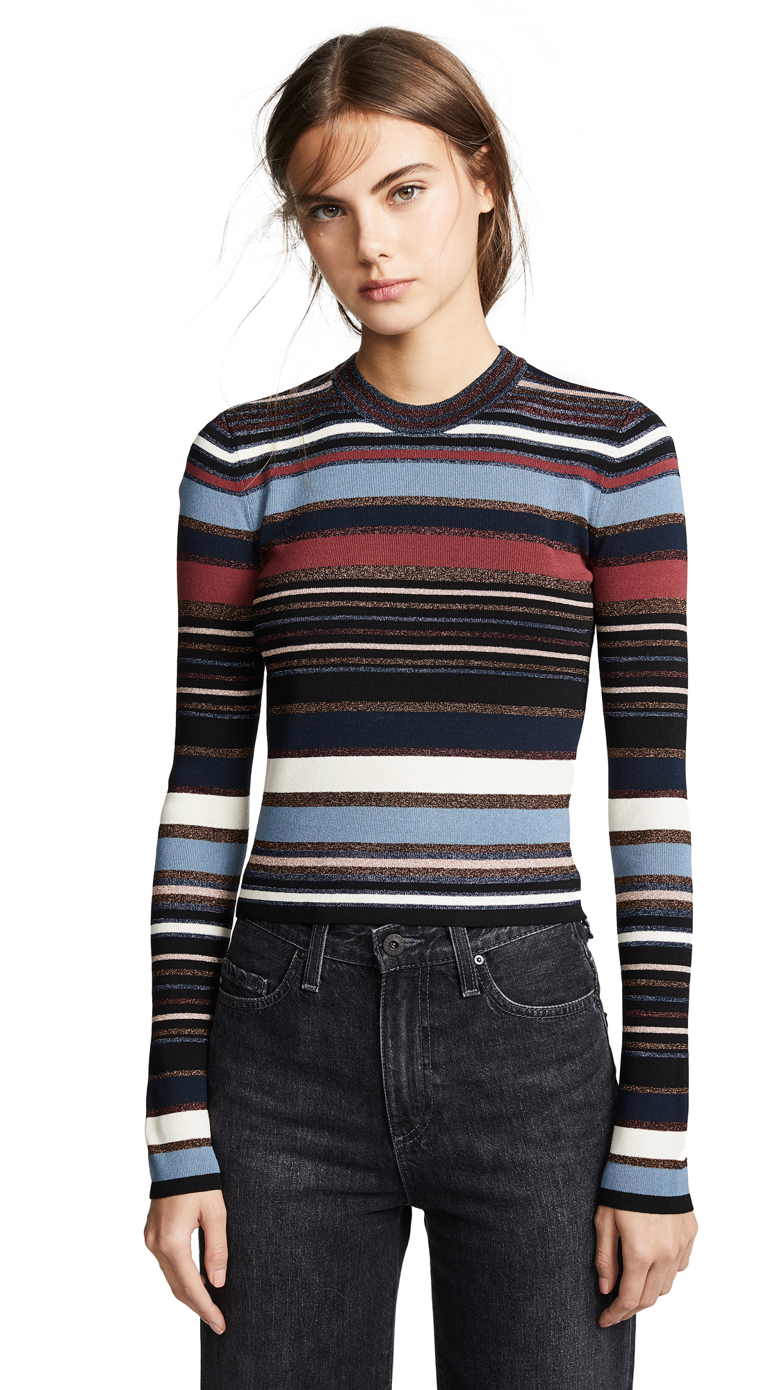 Palmas Striped Metallic Cropped Sweater in Navy Multi