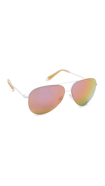 Victoria Beckham Classic Victoria Aviator Sunglasses - White/Malibu