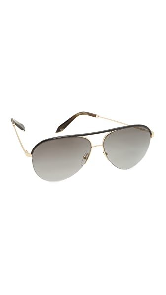 Victoria Beckham Classic Victoria Leather Sunglasses
