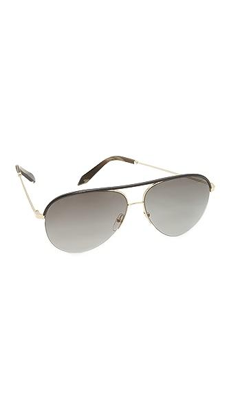 Victoria Beckham Классические солнцезащитные очки Victoria с кожаной отделкой