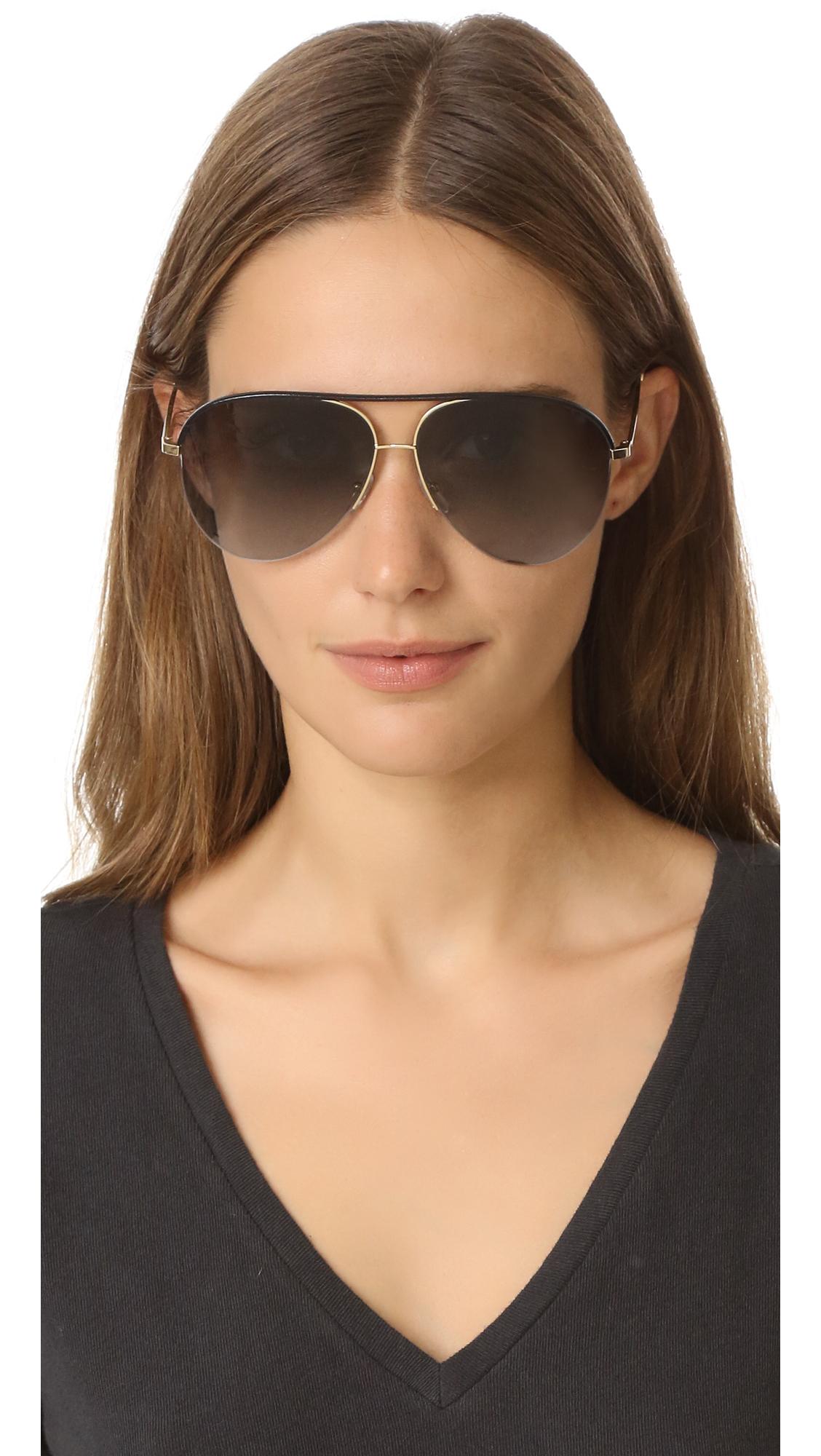 25e53613ac178 Victoria Beckham Classic Victoria Leather Sunglasses