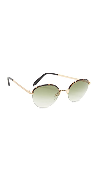 Victoria Beckham Windsor Round Sunglasses - Amber Tortoise/Brown