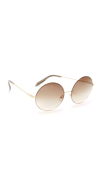 Victoria Beckham Feather Light Round Sunglasses - Gold/Brown