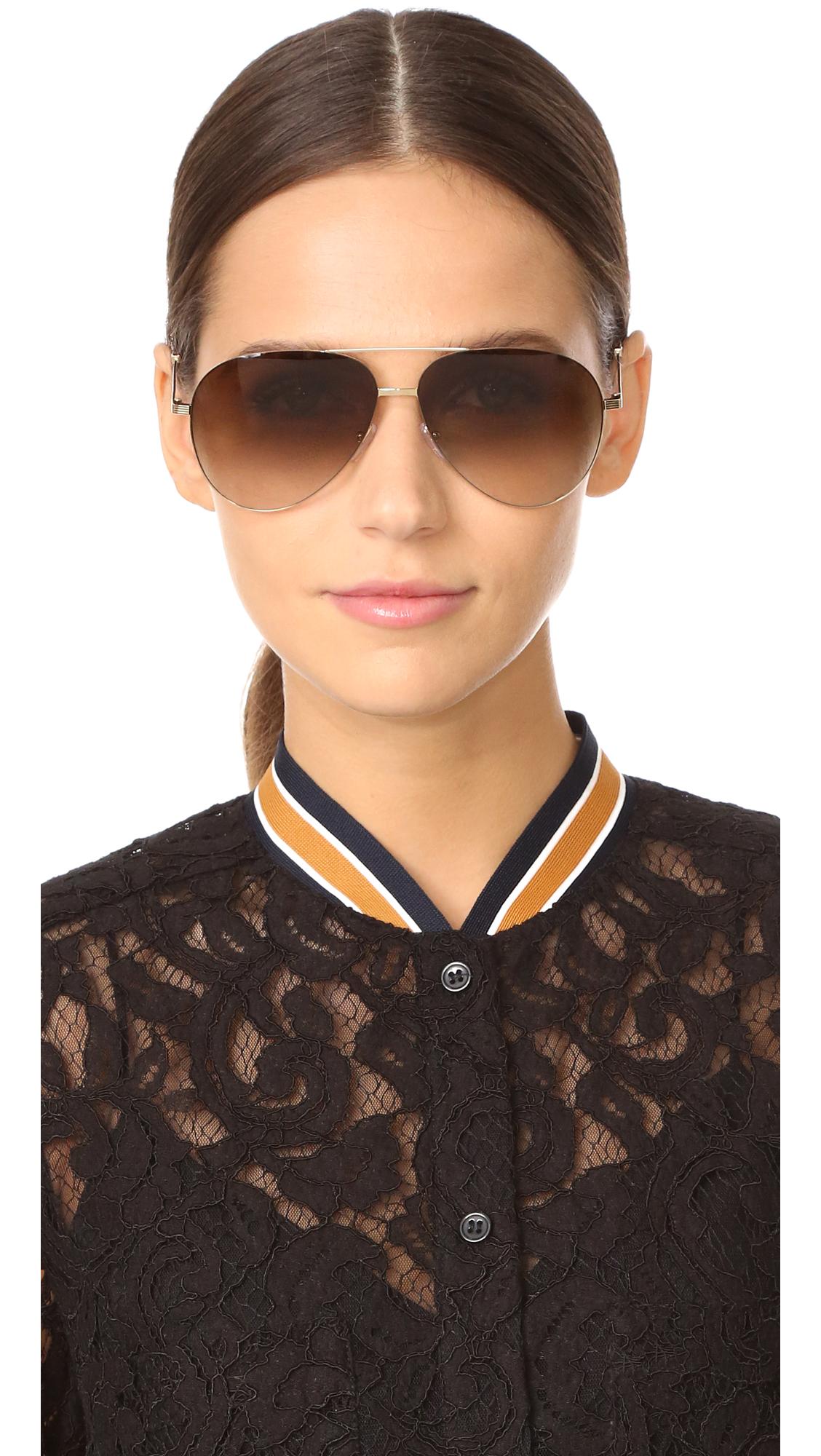 c274d3858002d Victoria Beckham Classic Victoria Feather Light Aviator Sunglasses ...